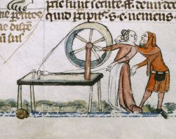 A distracted spinner: detail from the Smithfield Decretals, an illuminated manuscript of about 1350 in the British Library. Creative Commons
